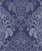 Damask Wallpaper Glitter Effect Sparkle Textured Blue Silver Paste The Paper