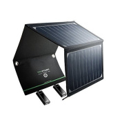 Ravpower 16w Solar Charger With Dual Usb Port Foldable, Portable High Efficien