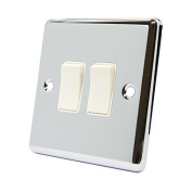 Light Switch 2 Gang - Polished Chrome - Classic - White Insert Plastic Switch -