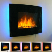 1.8kw Black Curved Glass Screen Wall Mounted Fire Flame Effect Fireplace With 7