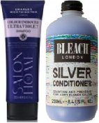 (2 PACK) Charles Worthington Colour Enhancer ULTRA VIOLET Shampoo x 250ml & Bleach London Silver Conditioner x 250ml