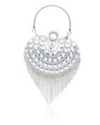 Women's Heart Shape Gems Studded Diamante Crystal Evening Clutch Bag/Ladies Wedding Party Hard Case Purse Bag Size 19x20x7 cm