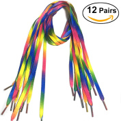 Tinksky 12 Pairs Rainbow Shoelaces Gradient Colourful Shoe Laces 90cm Flat Shoestring for Shoes Sneakers