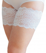 Bandelettes Dolce Anti Chafing Lace Thigh Bands, White Size C