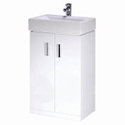 450mm Compact Cloakroom Bathroom White Gloss Vanity Unit Ceramic Basin Sink