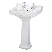 Traditional Style Bathroom Basin Sink Full Pedestal New White Ceramic 2 Tap Hole