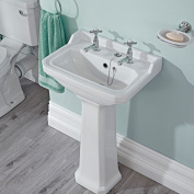 Traditional White Bathroom Ceramic Two Tap Hole Basin Sink With Pedestal