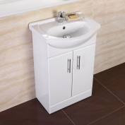 Traditional White 550 Basin Vanity Unit Set Bathroom Cloakroom Furniture