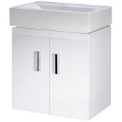 450mm Gloss White Wall Mounted Bathroom Vanity Unit Ceramic Basin Cloakroom
