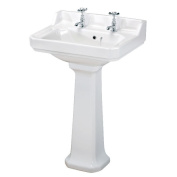 Traditional Cloakroom Two Tap Hole Basin & Full Pedestal Pottery Suite