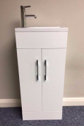 Gloss White Floor Standing 400 Vanity Unit Wash Basin Sink Storage Cupboard