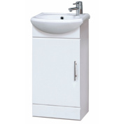 400mm Compact Gloss White Bathroom Vanity Unit Cabinet With Ceramic Basin