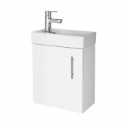 White Minimalist Compact Wall Hung Vanity Unit Basin Bathroom Cloakroom