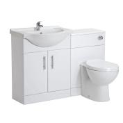 650 Bathroom Gloss White Furniture Vanity Unit Ceramic Basin Sink Btw Toilet Pan