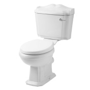 White Bathroom Wc Toilet Pan Cistern With Seat Traditional Belmont Chrome Flush