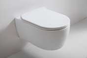 Rimless Modern D Shape Wall Hung Mounted Toilet Wc Pan Soft Close Slim Seat 545