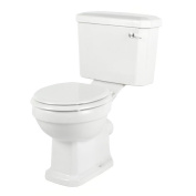 New Traditional White Ceramic Santon Toilet Pan Cistern Moulded Wood Seat Flush