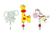 Set Of Three Safari Animal Themed Single Wooden Coat Hooks Wall Hooks Elephant &