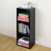 3 Tier Wooden Black Cube Bookcase Storage Display Unit Modular Shelving/shelv