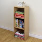 3 Tier Wooden Beech Cube Bookcase Storage Display Unit Modular Shelving/shelv