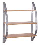 Wohnling Wl1.341 Mdf Wall Shelf Beech 3-tier Display Glass Unit/shelf 40 X 15 X
