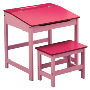 Bonsoni Childrens Pink Mdf Desk And Stool By Protege Homeware