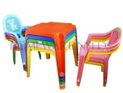 Childrens Kids Plastic Table And Chair Set - Includes 4 Chairs *choose Your