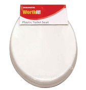 New White Woolworths Strong Plastic Bathrom Toilet Seat Durable Standard Fitting