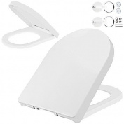 White Toilet Seat Slow Close D-shape Quick Release - Easy Clean High Quality