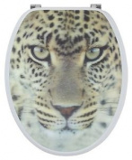 Sanwood By Nicol 6096137 Leopard 3d Toilet Seat Mdf With Wooden Core, Stainless