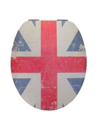 Eisl High Gloss Union Jack Effect Toilet Seat With Acrylic Coating And Soft C...