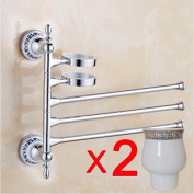 Qianmo-Bathroom Towel Bar Hardware Pendant European Gold-Plated Activities Rotating Towel Rack Multi-Function Bathroom Blue And White Porcelain Mouthwash Cup Silver Double Cup Three Towel Bar
