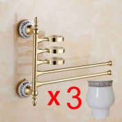 Qianmo-Bathroom Towel Bar Hardware Pendant European Gold-Plated Activities Rotating Towel Rack Multifunctional Bathroom Blue And White Porcelain Rinse Cup Gold Three-Cup Double-Lever Towel Bar