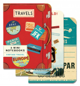 Cavallini - 3 Mini Notebooks - Vintage Travel - Lined, Blank & Graph Interiors
