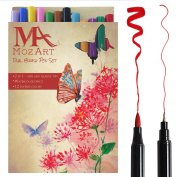 MozArt Dual Brush Pen Set - 12 Colour Pens - Soft Flexible Brush & Fineliner Tips - Markers ideal for Artist Supplies, Adult Colouring Books, Calligraphy, Lettering, Bullet Journals, Scrapbooks