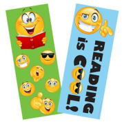 36 X Emoji Reading Is Cool Double Sided Bookmarks. Large 19x7.4cm