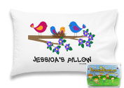 """Customizable, """"Family Of Birds"""" Pillowcase. Personalised With Your Child's Name - Perfect Gift For Little Girls Of All Ages!"""