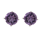 Neerupam Collection 92.5% Sterling Silver Natural Round Amethyst Solitaire Stud Earrings
