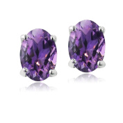 Neerupam Collection 92.5% Sterling Silver Natural Oval Amethyst Solitaire Stud Earring