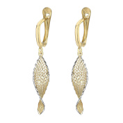 Carissima Gold 9ct Yellow Gold Square Patterned Small Drop Earrings