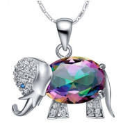 IzuBizu London Large Mystic Crystal Elephant Pendant Silver Plated Colourful Rainbow Sparkly Fire Necklace - Free Gift Box