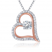 """Billie Bijoux 925 Sterling Silver Necklace Platinum Plated """"Only You"""" Zirconia Diamond Love Open Heart Charm Pendant Necklace for Women 46cm"""