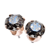 Rose Gold stud earrings expertly made with Black Patina crystal from ®.