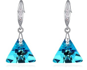 Triangle D Earrings Silver-Plated Crystal