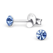 Small Round Blue Sapphire Stud Earrings | Sterling Silver \ Boxed