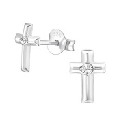 Small Cross Stud Earrings - Real Sterling Silver - Boxed