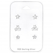 Set of 3 Pairs of Earrings Sterling Silver 925/000 Rhodium-Plated Silver with Cubic Zirconia – Stars
