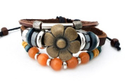 Agathe Creation Lucky Tibetan Bracelet with Bronze Flower and Agate Beads - Leather, Hemp with Wooden / Metal Beads - Multicoloured - Handmade