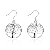 SavingMart Sterling Silver Plated Tree of Life Drop Dangle Earrings for Girls Fashion Jewellery Gift