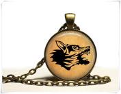Rabid wolf necklace Animal pendant Vintage jewellery